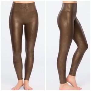 SPANX Faux Leather Bronze Leggings